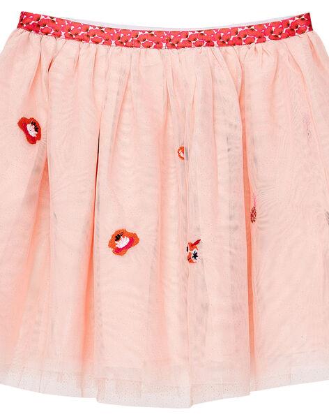 Jupe rose pâle en tulle brodé JAVIJUP1 / 20S901D1JUPD327