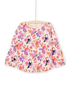 T-shirt manches longues motifs oiseaux colorés enfant fille MAPATEE / 21W901H1TMLD319