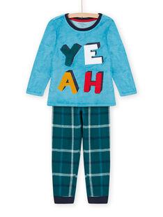 Ensemble pyjama bleu saphir motif YEAH enfant garçon MEGOPYJYEAH / 21WH1296PYJC211