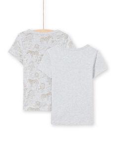 Lot de 2 T-shirts manches courtes assortis gris clair chién enfant garçon MEGOTELSAV / 21WH12B1HLIA010