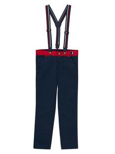 Pantalon uni marine à bretelles garçon JOWEPANT / 20S90291PAN705