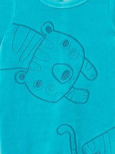 Grenouillère bleue brodée en velours LEGAGRECAL / 21SH1456GREC240