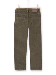 Pantalon uni kaki côtelé enfant garçon MOJOPAVEL2 / 21W90214PANG631