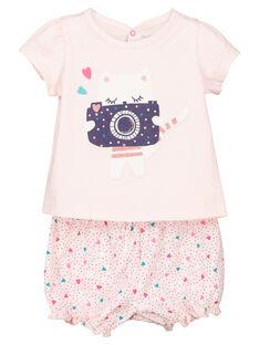 Dors-bien short bébé fille imprimé chat FEFIPYJCHA / 19SH13H1PYJD310