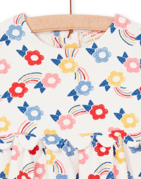 Robe écru imprimé fleuri multicolore bébé fille LIHAROB1 / 21SG09X1ROB001