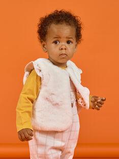 Gilet sans manches écru en fausse fourrure bébé fille MISAUCAR1 / 21WG09P1CAR001