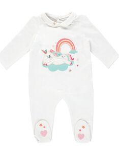 Grenouillère bébé fille blanche à col JEFIGRECLAU / 20SH13C3GRE000