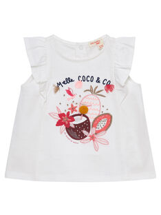 Tee shirt manches volantées ecru bébé fille JIDUTI / 20SG09O1TMC001