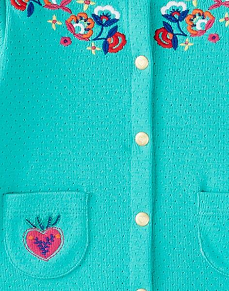 Cardigan en pointelle turquoise bébé fille JIMARCAR / 20SG09P1CAR310