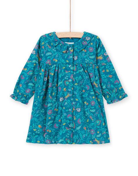 Robe manches longues bleu canard à imprimé fleuri enfant fille MITUROB1 / 21WG09K3ROB714