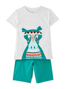 Pyjama court enfant garçon dinosaure gris chiné et vert JEGOPYCINDI / 20SH12UAPYJJ920