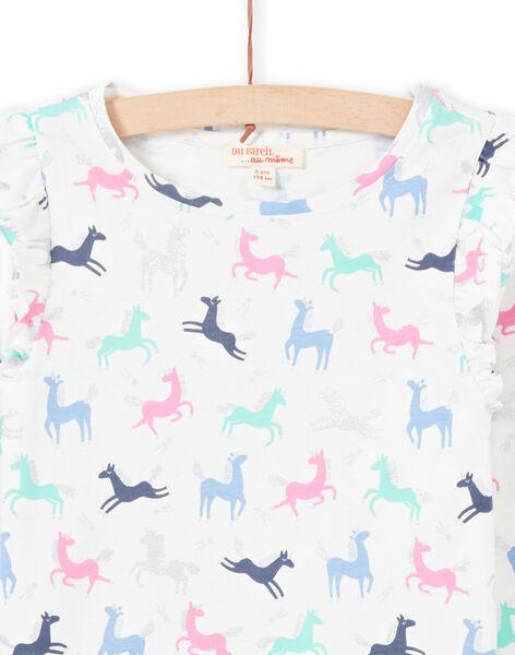 T-shirt écru et rose imprimé licorne enfant fille MAPLATEE3 / 21W901O2TML001