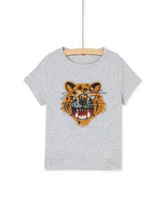 Tee shirt manches courtes girs chiné enfant garçon KOBRITEE1EX / 20W902F1TMC943