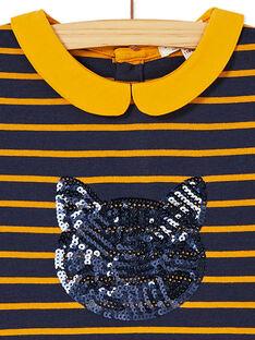 Robe en milano rayée à manches courte, col claudine et tête de chat en sequins KAJOROB1 / 20W90133ROB070