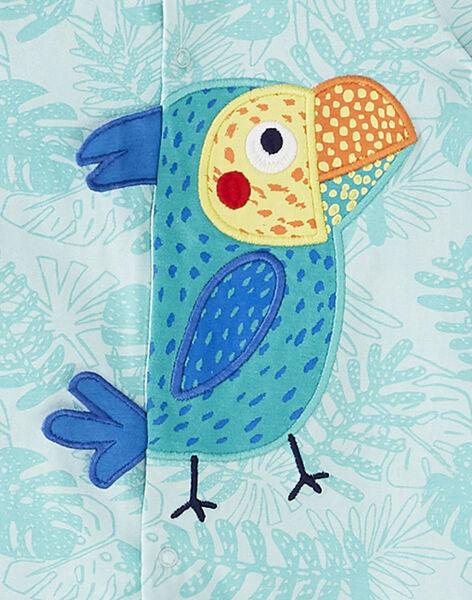 Grenouillère courte bébé garçon turquoise JEGAGRETOU / 20SH14U2GRE210