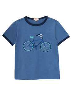 Tee shirt bleu garçon broderie vélo JOPOETI / 20S902G1TMCC237