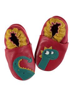 grossiste b034c 7d4a9 Chausson dragon cuir souple rouge bébé garçon