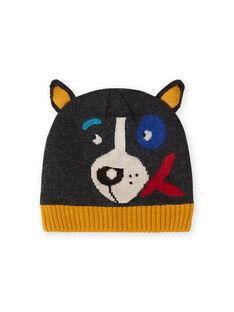 Bonnet anthracite à motif chien enfant garçon MYOGROBON3 / 21WI0252BON944