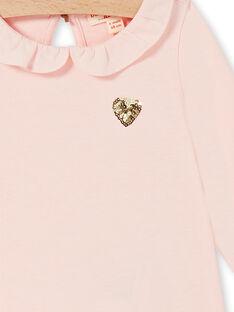 T-shirt rose uni cœur sequins bébé fille LIJOBRA2 / 21SG0931BRAD326