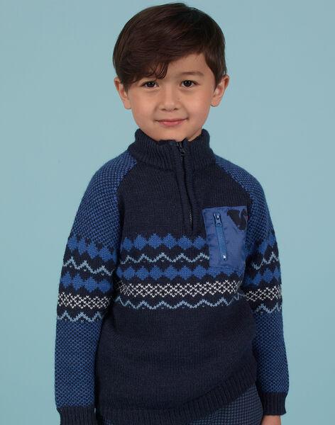 Pull jacquard bleu marine enfant garçon MOPLAPUL / 21W902O1PUL705