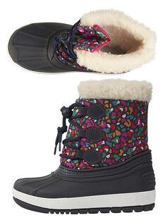 Après ski coqué en textile léopard multicolore. Doublure en textile chaud. Fermeture à lacet ajustable par bouton bleu. Semelle souple en élastomère cramponnée pour une meilleure accroche sur la neige. GFMONTNEA / 19WK35W1D3N070