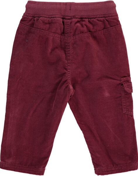 Pantalon en velours bordeaux bébé garçon DUJOPAN8 / 18WG10J2PAN503