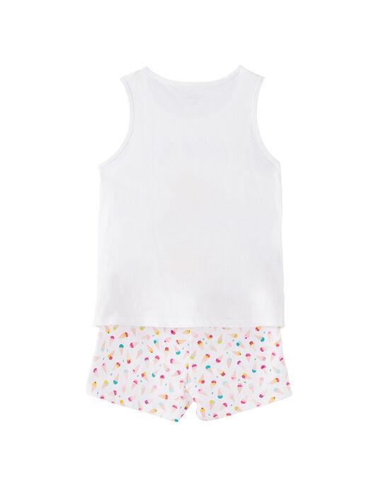 Pyjama court enfant fille blanc avec imprimé senteur JEFAPYJ6 / 20SH11U7PYJ000