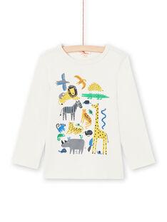 T-shirt crème motifs animaux enfant garçon MOKATEE1 / 21W902I1TML007
