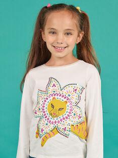 T-shirt écru motif tigre à sequins fantaisie enfant fille MATUTEE3 / 21W901K1TML001