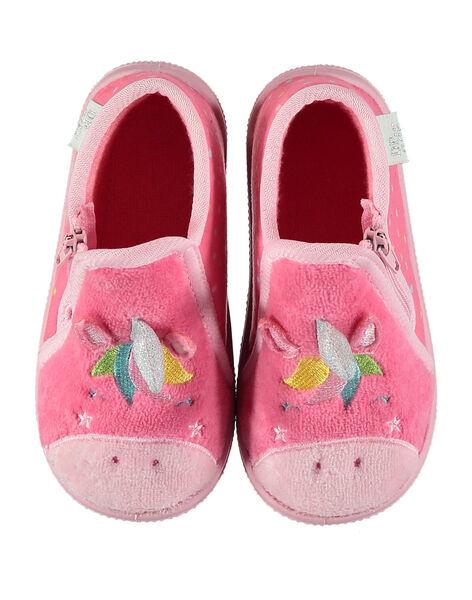 Chausson licorne velours rose bébé fille GBFBOTLIC / 19WK37Z1D0A321