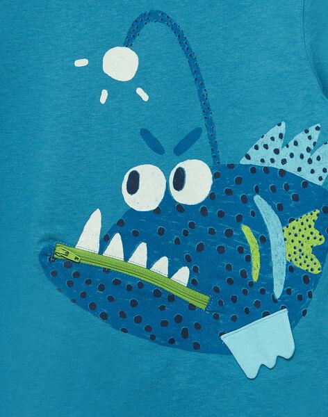 Tee shirt bleu manches courtes garçon poisson ludique JOBOTI5 / 20S902H4TMC215