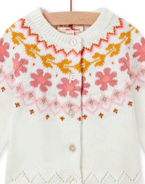 Cardigan tricot écru bébé fille MISAUCAR2 / 21WG09P2CAR001
