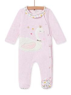 Grenouillère en velours rose chiné motif cygne bébé fille MEFIGRESWA / 21WH1385GRED314