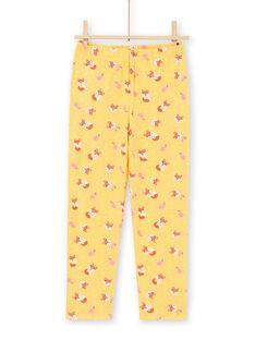 Ensemble pyjama T-shirt et pantalon jaune et orange enfant fille MEFAPYJFOX / 21WH1174PYG010