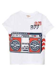 Tee shirt blanc garçon imprimé radio JOGRATI2 / 20S902E1TMC000