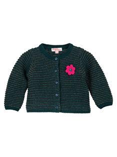 Cardigan turquoise et lurex layette fille GITUCAR1 / 19WG09Q1CAR714