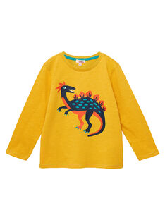 Tee shirt manches longues garçon jaune imprimé dinosaure JOJOTEE3 / 20S90241D32B116