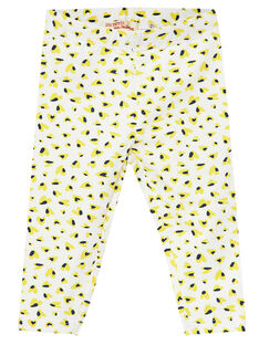 Legging bébé fille motif bleu et jaune JYITROLEG / 20SI09F1CAL000