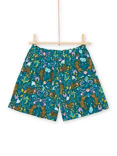 Short bleu canard imprimé tigres et fleuri enfant fille LAVERSHORT2 / 21S901Q2SHO714