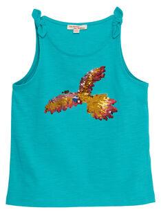 Débardeur bleu motif  perroquet en sequins réversibles enfant fille JAMARDEB / 20S901P1DEB629