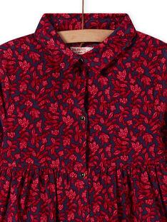 Robe bleue col chemise à imprimé fleuri enfant fille MAFUNROB3 / 21W901M2ROBH703