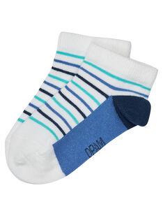 Socquette garçon rayée bleu  JYOPOESOQ / 20SI02G1SOQ000