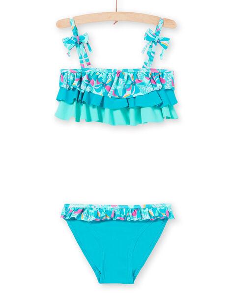 Maillot de bain 2 pièces turquoise enfant fille LYABIK2 / 21SI01DCMAIG621