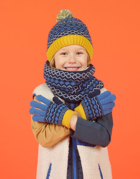 Gants bleus motif jacquard enfant fille MYOGROGAN3 / 21WI0266GAN221