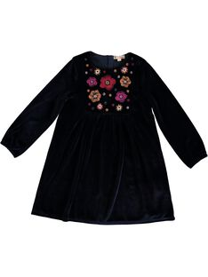 Robe en panne de velours, empiècement brodé KALUROB3 / 20W901P2ROBC205