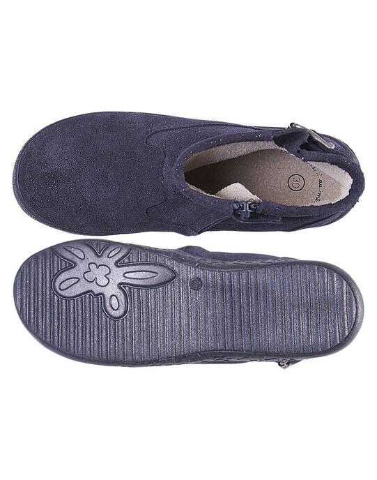 Boots croûte de cuir paillettes marine enfant fille  GFBOOTMATER / 19WK35I7D0D070