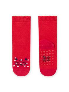 Chaussettes rouges motif léopard bébé fille MYIJOSOQB1 / 21WI0911SOQ511