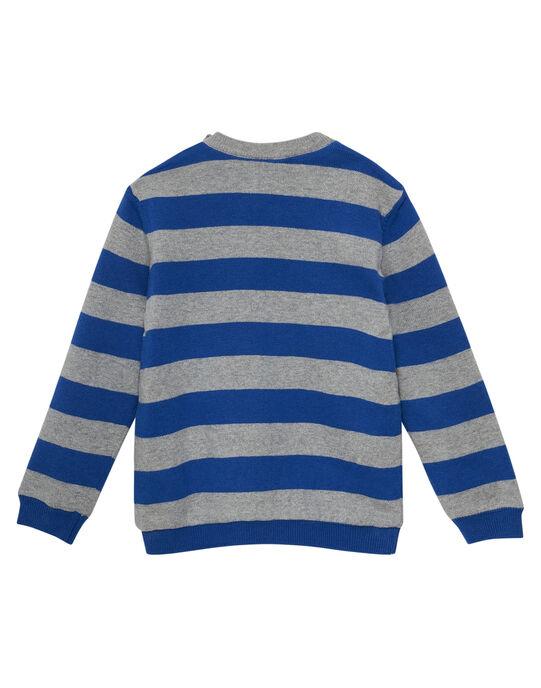 Pull rayé garçon doublé polaire gris chiné et bleu JOVIPUL / 20S902D1PUL703