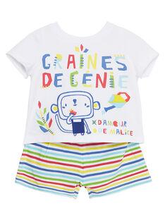 Pyjama court bébé garçon blanc et rayé JEGAPYJROB / 20SH14U2PYJ000