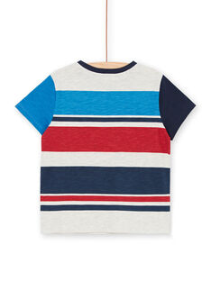 T-shirt gris chiné à rayures et broderie enfant garçon LOHATI2 / 21S902X1TMCJ920